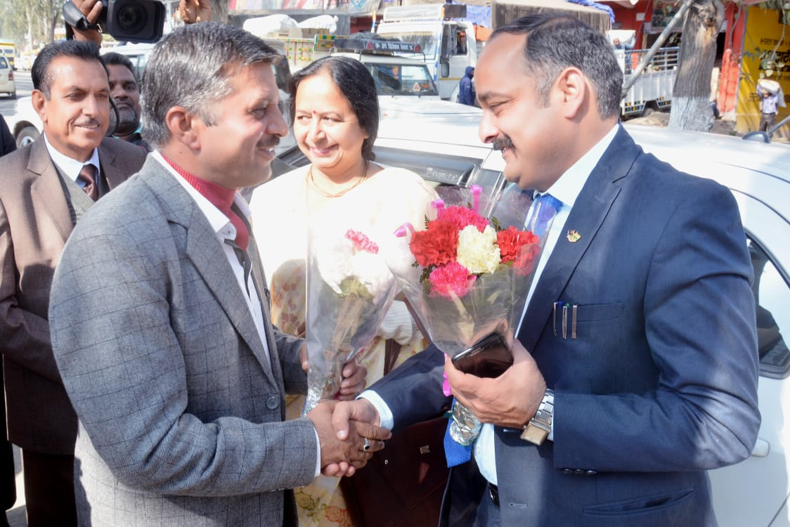 Dr. Amarjeet Sharma Director of Higher Education H.P received by President of School.